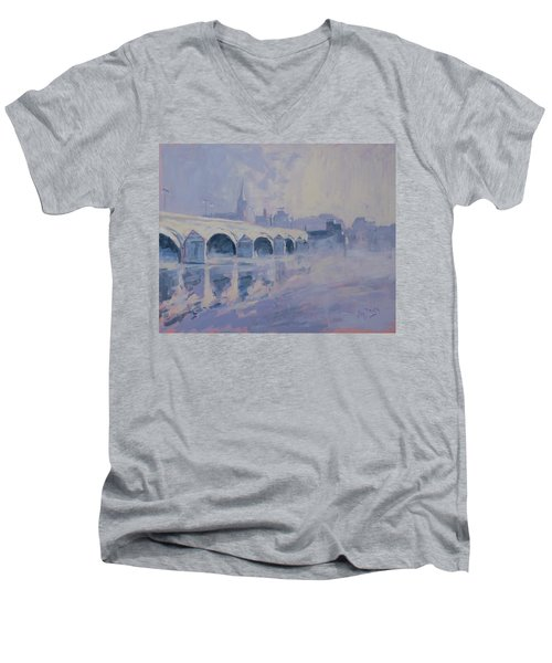 The Old Bridge In Morning Fog Maastricht Men's V-Neck T-Shirt