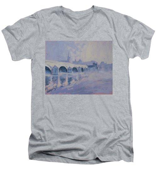 The Old Bridge Of Maastricht In Morning Fog Men's V-Neck T-Shirt by Nop Briex