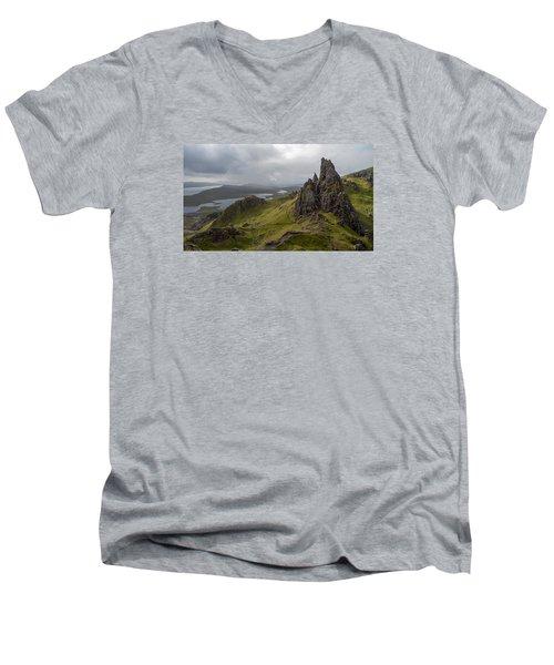 The Old Man Of Storr, Isle Of Skye, Uk Men's V-Neck T-Shirt by Dubi Roman