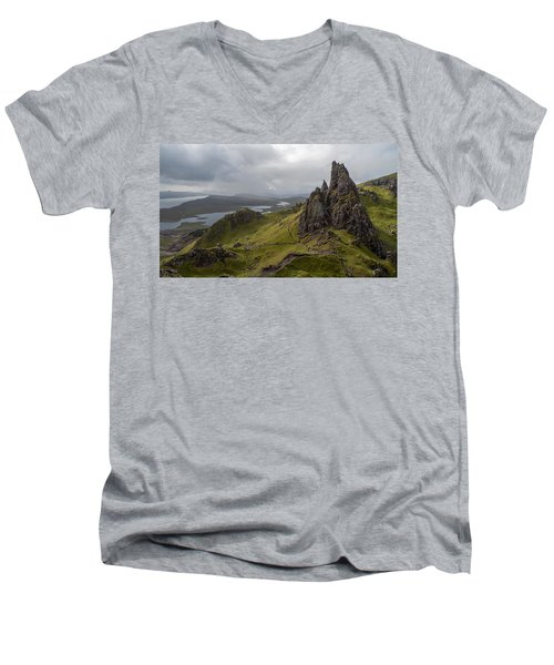The Old Man Of Storr, Isle Of Skye, Uk Men's V-Neck T-Shirt