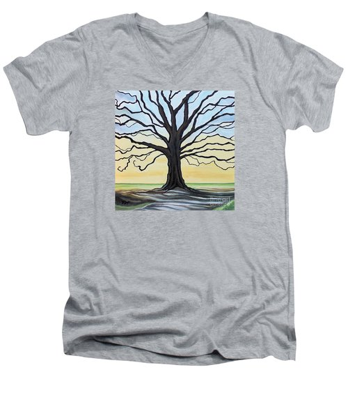 Men's V-Neck T-Shirt featuring the painting The Stained Old Oak Tree by Elizabeth Robinette Tyndall