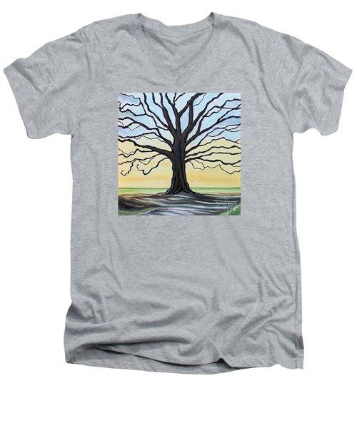 The Stained Old Oak Tree Men's V-Neck T-Shirt by Elizabeth Robinette Tyndall