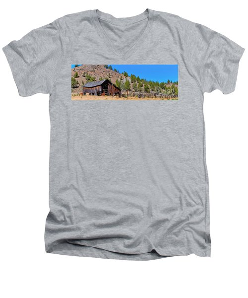 The Old Pine Creek Ranch Barn And Coral Men's V-Neck T-Shirt