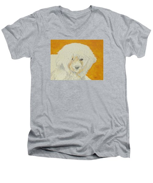 The Old Poodle Men's V-Neck T-Shirt by Hilda and Jose Garrancho