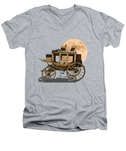 The Old Stage Coach Men's V-Neck T-Shirt by John Haldane