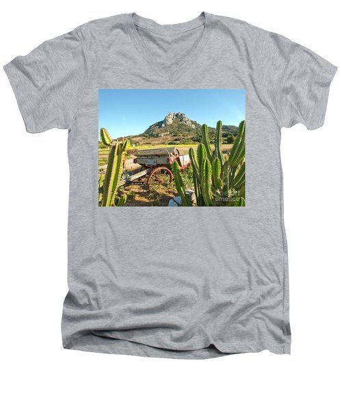 The Old Wagon And Cactus Patch In Front Of One Of The Seven Sisters In San Luis Obispo California Men's V-Neck T-Shirt