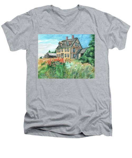 The Olson House With Poppies Men's V-Neck T-Shirt
