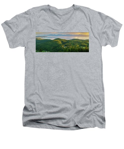 The Olympics From Mt Erie Men's V-Neck T-Shirt by Ken Stanback