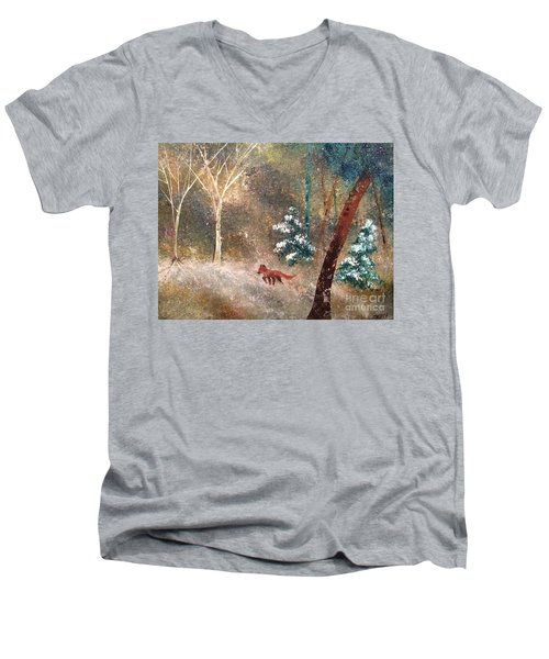 Men's V-Neck T-Shirt featuring the painting The Onion Snow by Denise Tomasura