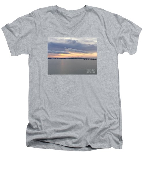 The Opalescent Sunrise Is Unfurled Men's V-Neck T-Shirt by Patricia E Sundik