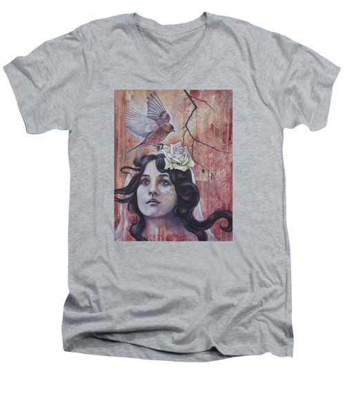 Men's V-Neck T-Shirt featuring the mixed media The Oracle by Sheri Howe