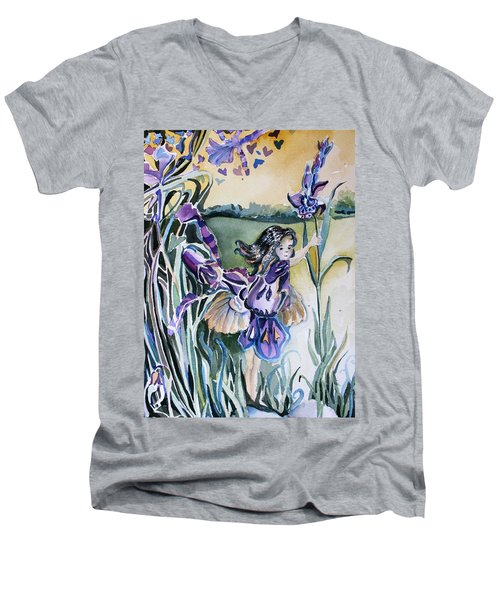 Men's V-Neck T-Shirt featuring the painting The Orchid Fairy by Mindy Newman