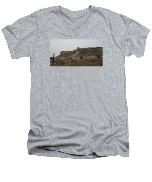 Men's V-Neck T-Shirt featuring the photograph The Oregon Trail Scotts Bluff Nebraska by Christopher Kirby