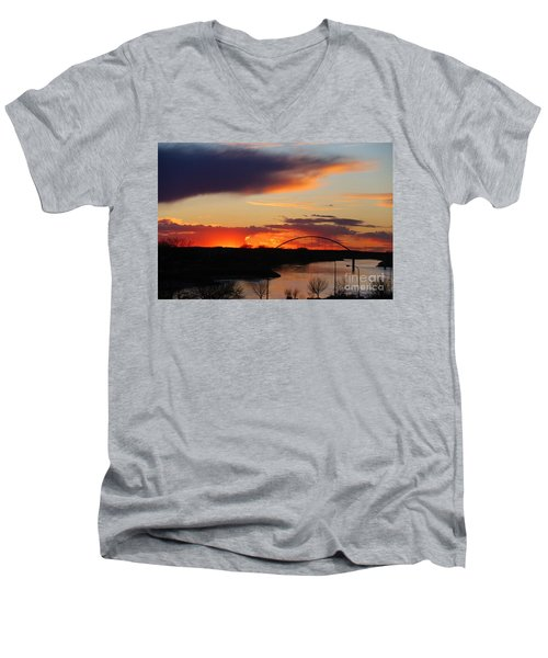 The Other Side Of The Bridge  Men's V-Neck T-Shirt by Yumi Johnson