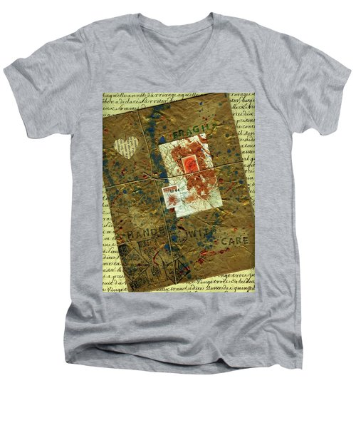 Men's V-Neck T-Shirt featuring the mixed media The Package by P J Lewis