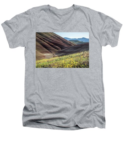 The Painted Hills In Bloom Men's V-Neck T-Shirt