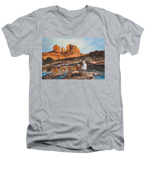 The Painter Woods Men's V-Neck T-Shirt by Alan Lakin