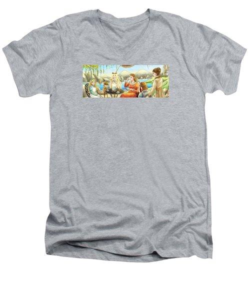 The Palace Garden Tea Party II Men's V-Neck T-Shirt