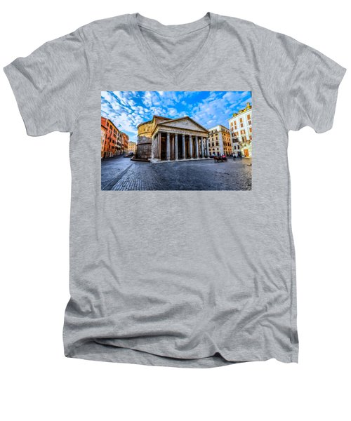 Men's V-Neck T-Shirt featuring the painting The Pantheon Rome by David Dehner