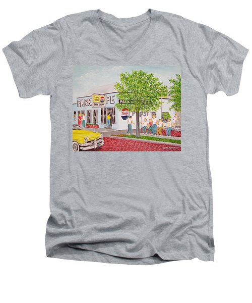 The Park Shoppe Portsmouth Ohio Men's V-Neck T-Shirt by Frank Hunter