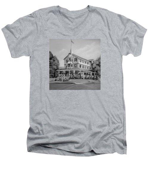 The Parker House Black And White Men's V-Neck T-Shirt by Melinda Saminski