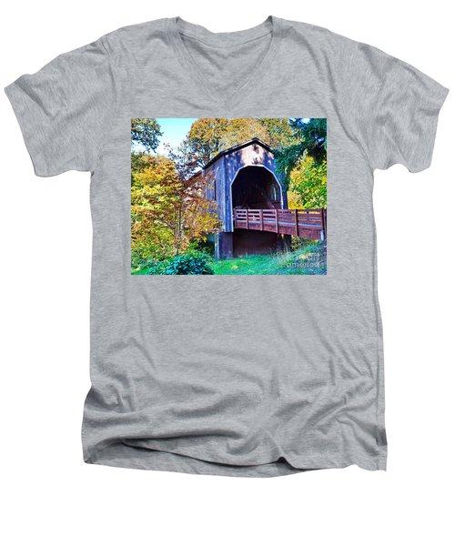 The Pass Creek Covered Brkidge Men's V-Neck T-Shirt