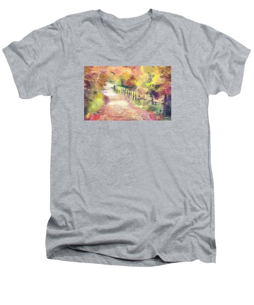 Men's V-Neck T-Shirt featuring the painting The Path In Autumn by Wayne Pascall