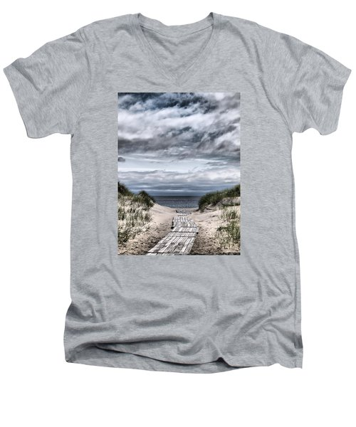 The Path To The Beach Men's V-Neck T-Shirt by Jouko Lehto