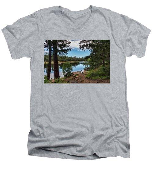 Men's V-Neck T-Shirt featuring the photograph The Perfect Fishing Spot  by Saija Lehtonen