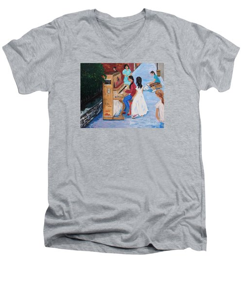 The Piano Player Men's V-Neck T-Shirt