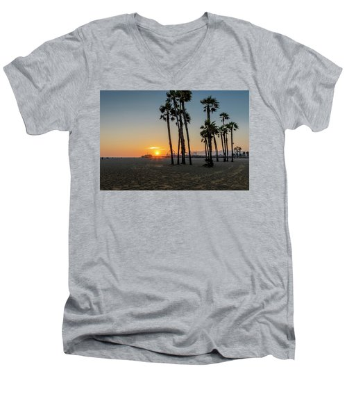 The Pier At Sunset Men's V-Neck T-Shirt