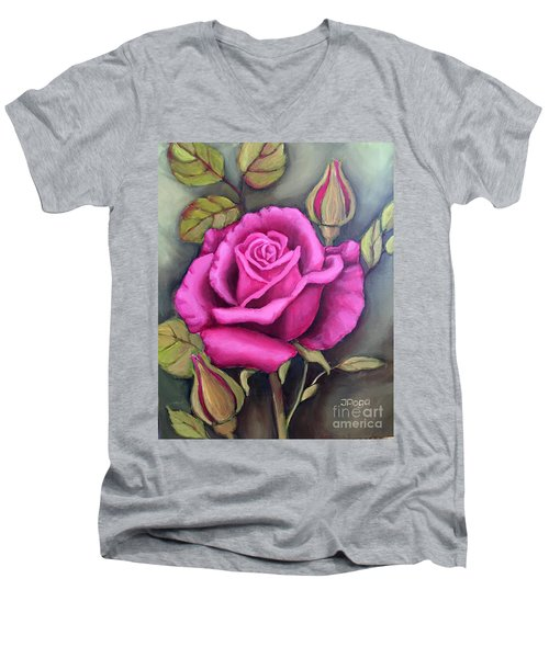 The Pink Rose Men's V-Neck T-Shirt by Inese Poga