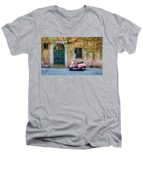 The Pink Vespa Men's V-Neck T-Shirt