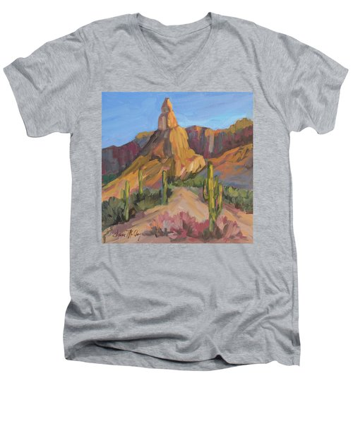 Men's V-Neck T-Shirt featuring the painting The Pinnacle At Goldfield Mountains by Diane McClary
