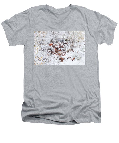The Poetic Beauty Of Freshly Fallen Snow  Men's V-Neck T-Shirt by Bijan Pirnia