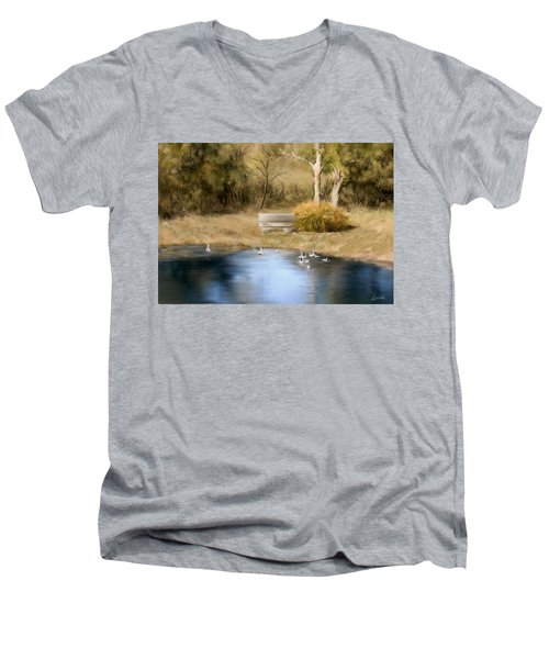 Men's V-Neck T-Shirt featuring the painting The Pond by Bonnie Willis
