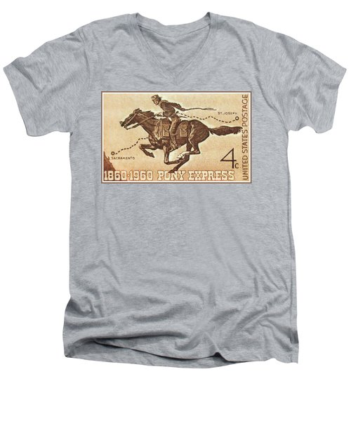 The Pony Express Centennial Stamp Men's V-Neck T-Shirt by Lanjee Chee