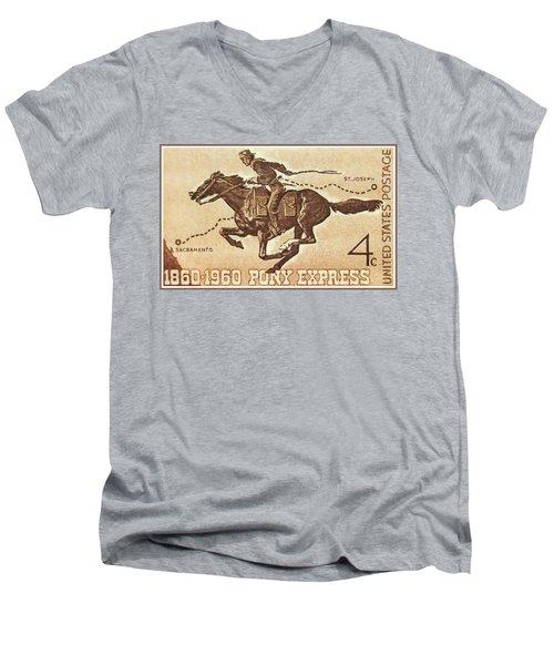 The Pony Express Centennial Stamp Men's V-Neck T-Shirt