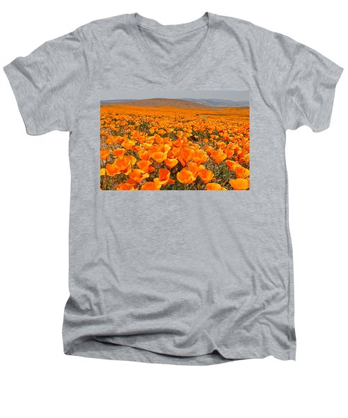 The Poppy Fields - Antelope Valley Men's V-Neck T-Shirt by Peter Tellone