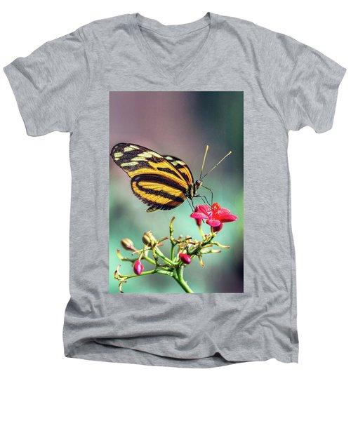 Men's V-Neck T-Shirt featuring the photograph The Postman Longwing  by Saija Lehtonen