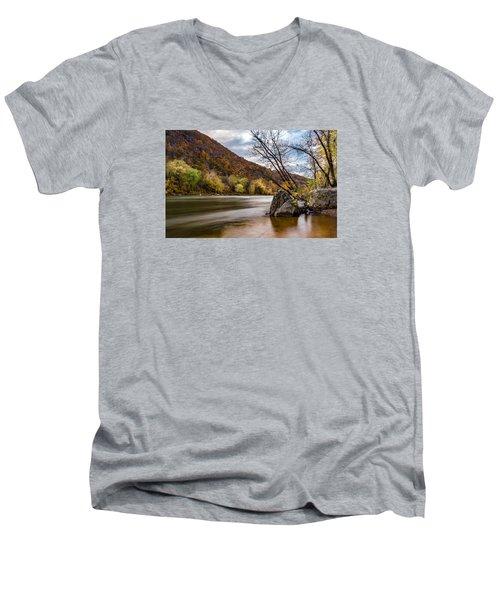 The Potomac In Autumn Men's V-Neck T-Shirt by Ed Clark