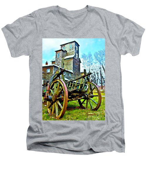 Men's V-Neck T-Shirt featuring the photograph The Pottery - Bennington, Vt by Tom Cameron