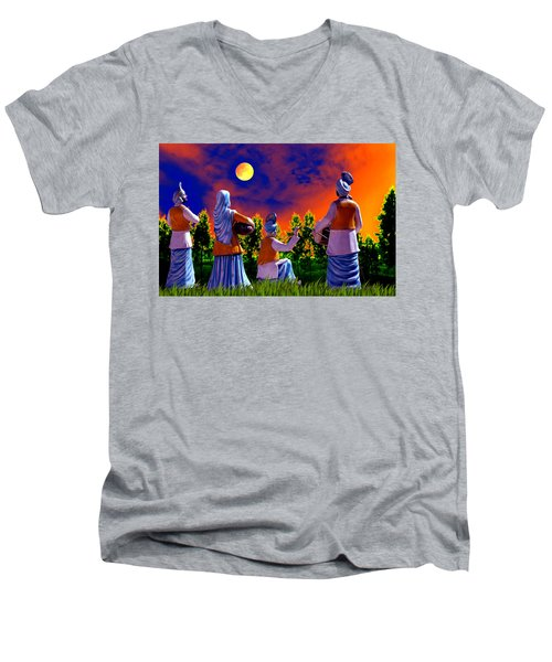 Men's V-Neck T-Shirt featuring the digital art The Punjabi Life by Bliss Of Art