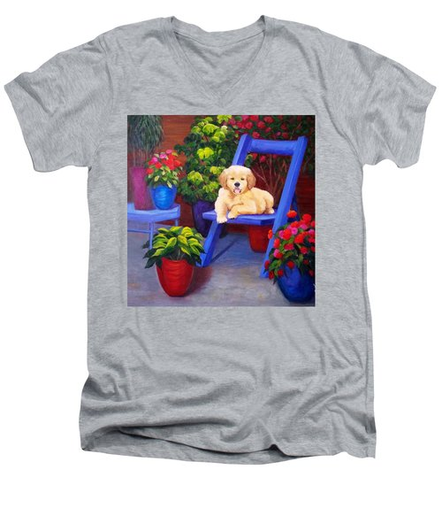 The Puppy In The Garden Men's V-Neck T-Shirt