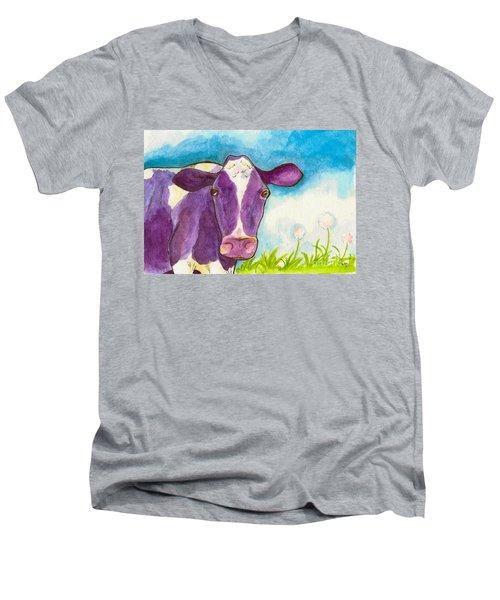 The Purple Cow Men's V-Neck T-Shirt by Whitney Morton
