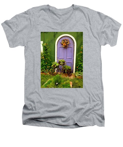 The Purple Door Men's V-Neck T-Shirt by Michiale Schneider