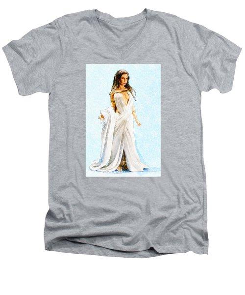 The Queen Men's V-Neck T-Shirt by David Stasiak