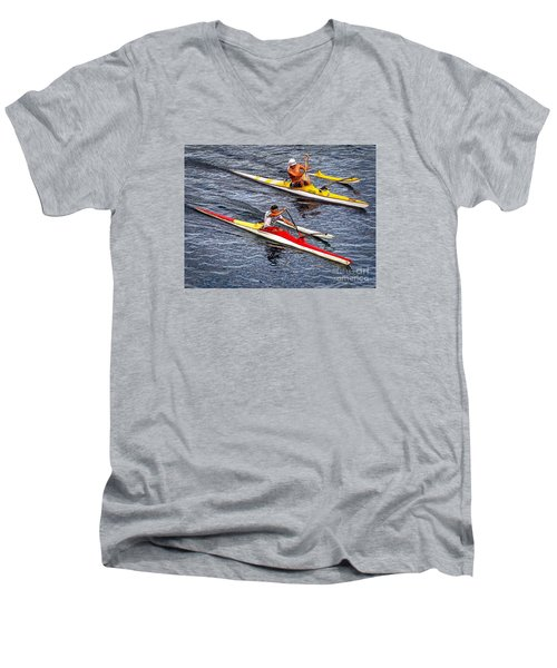 The Race Is On Men's V-Neck T-Shirt by Sue Melvin