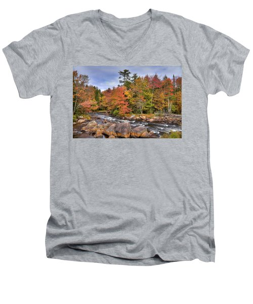 Men's V-Neck T-Shirt featuring the photograph The Rapids On The Moose River by David Patterson