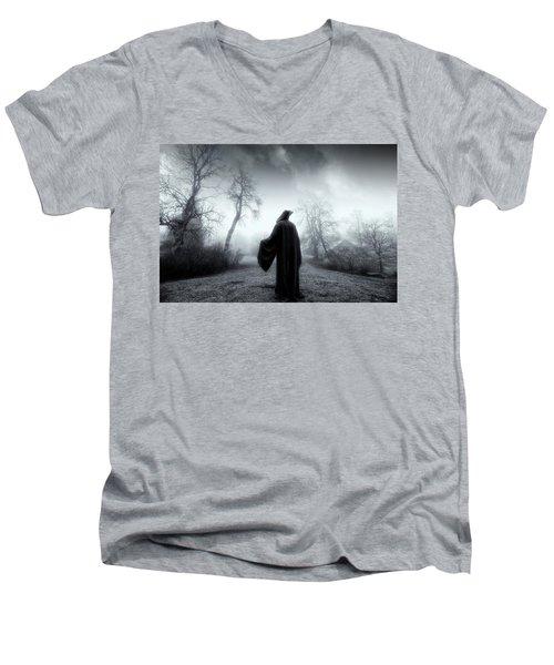 The Reaper Moving Through Mist And Fog Men's V-Neck T-Shirt